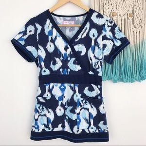 Koi Scrub Top Blue Ikat Two Pockets Gathered Back
